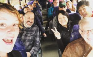 Amanda leads a bus tour